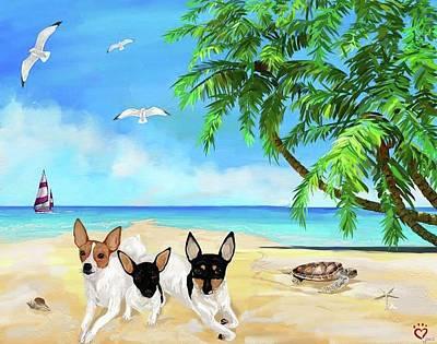 Fox Terrier Puppy Digital Art - Tres Amigos by Kari Jones