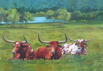 Longhorn Pasture Painting - Tres Amigos by Robin Hegemier