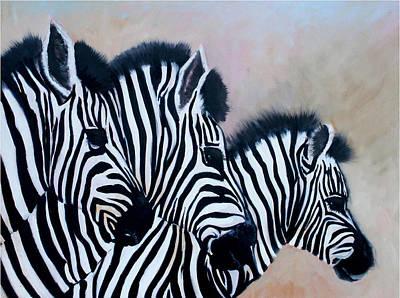 Zebra Painting - Tres Amigos by Sally Seago