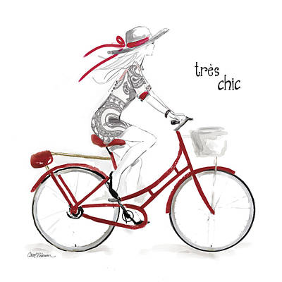 Girl On Bike Painting - Tres Chic by Carol Robinson