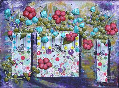 Art Print featuring the mixed media Tres Jarrones De Flor by Terri Thompson