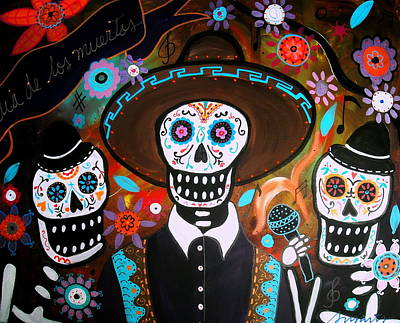 Cemetery Painting - Tres Mariachis by Pristine Cartera Turkus