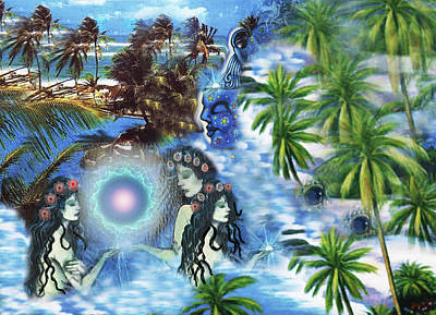 Luz Digital Art - Tres Sirenas by Sally Toro
