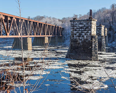 Winter In Maine Photograph - Trestle In Winter by Laurie Breton
