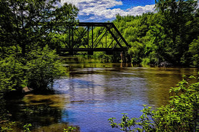 Mark Myhaver Royalty Free Images - Trestle Over River op14 Royalty-Free Image by Mark Myhaver