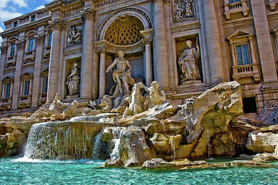 Art Print featuring the photograph Trevi Fountain From Right Side  by Harry Spitz