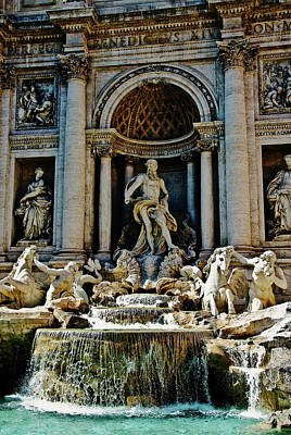 Art Print featuring the photograph Trevi Fountain Vertical  by Harry Spitz