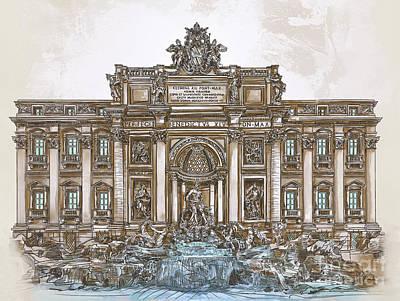 Painting -  Trevi Fountain,rome  by Andrzej Szczerski