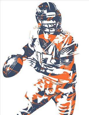 Mixed Media - Trevor Siemian Denver Broncos Pixel Art 5 by Joe Hamilton