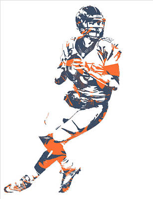 Mixed Media - Trevor Siemian Denver Broncos Pixel Art by Joe Hamilton