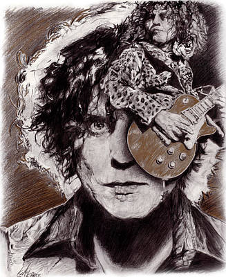 Marc Bolan Drawing - Trex by Rockart