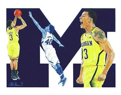 University Of Michigan Mixed Media - Trey Burke by Chris Brown