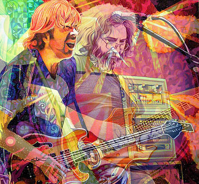 Jerry Garcia Digital Art - Trey Channeling Cosmic Jerry by Joshua Morton