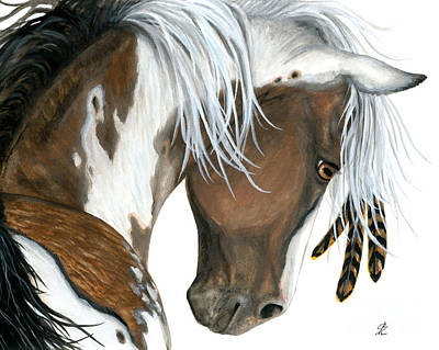 Wild Horse Painting - Tri Colored Pinto Horse by AmyLyn Bihrle
