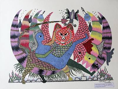 Gond Art Painting - Tria Phul Devi The Goddess Of Three Flowers by Rameshwar Dhurwey