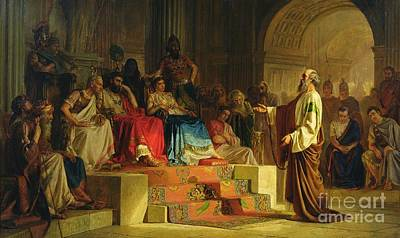 Jews Painting - Trial Of The Apostle Paul by Nikolai K Bodarevski