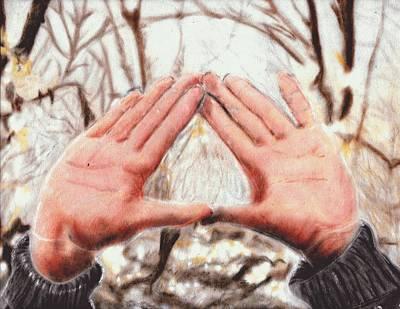 Illuminati Drawing - Triangle Hands by Jesse Temple
