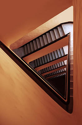 Photograph - Triangle Staircase In Orange And Red Tones by Jaroslaw Blaminsky