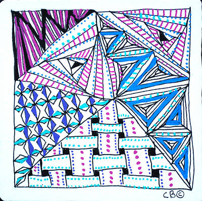Drawing - Triangle Tangle by Carole Brecht