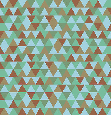 Royalty-Free and Rights-Managed Images - Triangular Geometric Pattern - Blue Green Brown by Studio Grafiikka