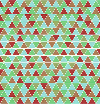 Royalty-Free and Rights-Managed Images - Triangular Geometric Pattern - Blue, Green, Maroon, Brown by Studio Grafiikka