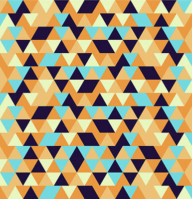Royalty-Free and Rights-Managed Images - Triangular Geometric Pattern - Warm Colors 06 by Studio Grafiikka