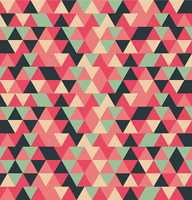 Royalty-Free and Rights-Managed Images - Triangular Geometric Pattern - Warm Colors 13 by Studio Grafiikka