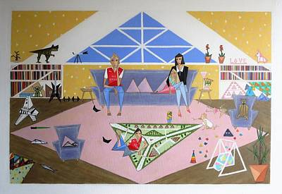 Painting - Triangular Life. Family by Tamara Savchenko