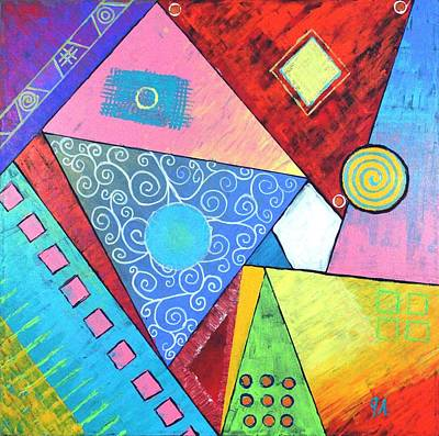 Painting - Triangular Worlds by Jeremy Aiyadurai