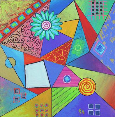 Painting - Triangular Worlds V2 by Jeremy Aiyadurai