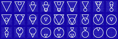 Drawing - Triarcle -alphabet- Grid Blueprint by Coded Images