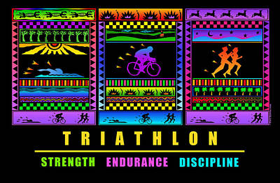 Painting - Triathlon by Phil Dynan