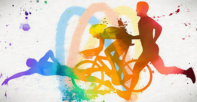 Painting - Triathlon Poster by Dan Sproul