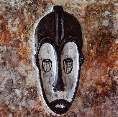 Painting - Tribal African Masks Art Prints Fang Ngil Mask by Injete Chesoni