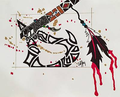 Drawing - Tribal Axe by Jeremiah Colley