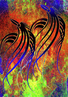 Crow Mixed Media - Tribal Birds Contemporary Whimsy by Georgiana Romanovna