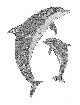 Dolphins Drawing - Tribal Bottle Nose Dolphin And Calf by Carol Lynne