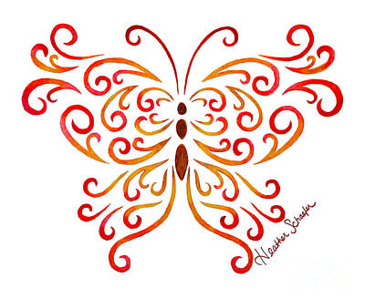 Drawing - Tribal Butterfly by Heather Schaefer