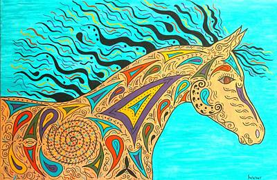 Tribal Carnival Spirit Horse Art Print by Susie WEBER