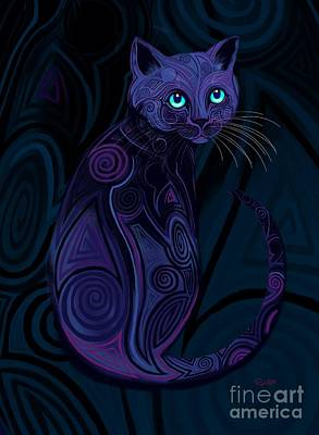 Digital Art - Tribal Cat Blue Eyes by Nick Gustafson