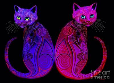 Kitty Digital Art - Tribal Cats by Nick Gustafson