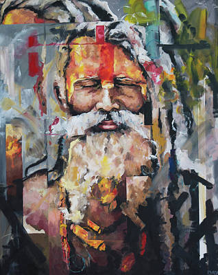 Oil Paint Painting - Tribal Chief Sadhu by Richard Day