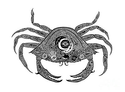 Scuba Diving Drawing - Tribal Crab by Carol Lynne