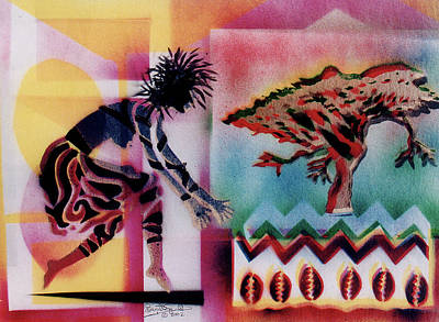 Wynton Marsalis Mixed Media - Tribal Dancer by Everett Spruill