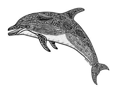 Dolphin Wall Art - Drawing - Tribal Dolphin by Carol Lynne