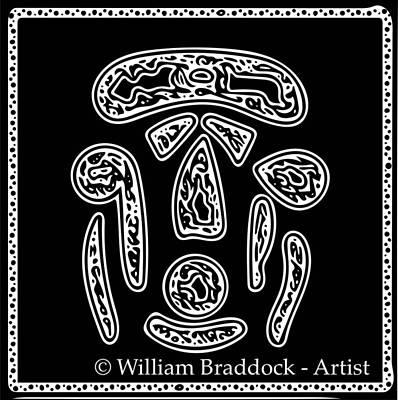 Digital Art - Tribal Face - White On Black by William Braddock