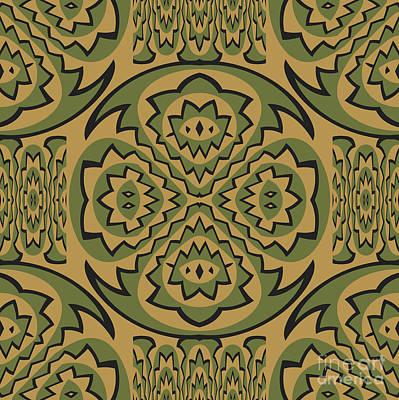 Algorithmic Digital Art - Tribal Geometric Pattern by Gaspar Avila