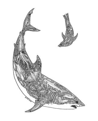 Hammerhead Shark Drawing - Tribal Great White And Sea Lion by Carol Lynne