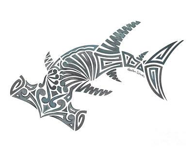 Drawing - Tribal Hammerhead Shark by Heather Schaefer