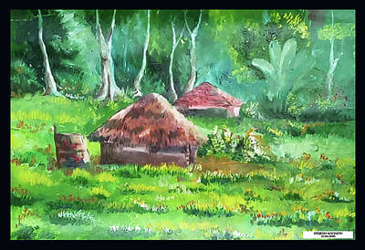 Tribal Hut Art Print by Sreejesh Koonery